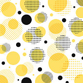 Abstract modern yellow, black dots pattern with lines diagonally on white background. Vector illustration