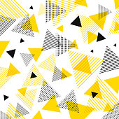 Abstract modern yellow, black triangles pattern with lines diagonally on white background. Vector illustration