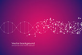 Abstract molecule background, genetic and chemical compounds, connected lines with dots, medical, technological and scientific concept, vector illustration.