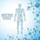 Abstract molecule based human figure concept, vector illustration.