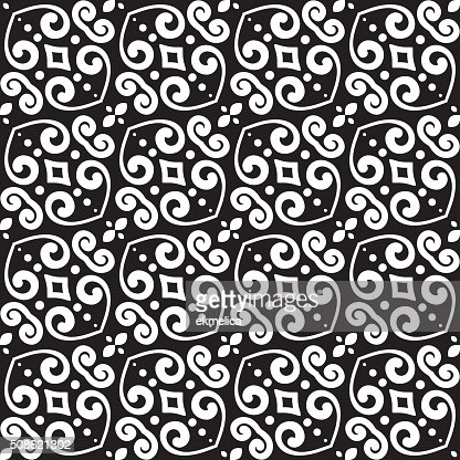 Abstract monochrome seamless hand-drawn pattern. : Vector Art