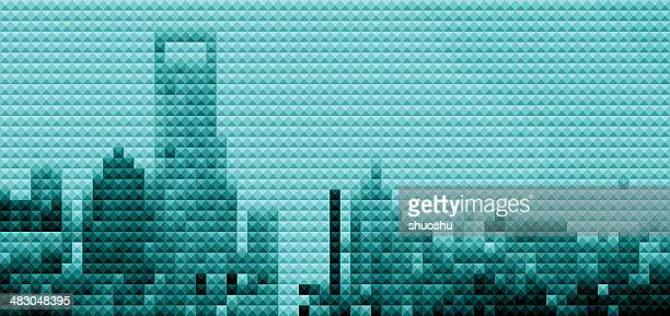 abstract mosaic style Shanghai skyline background