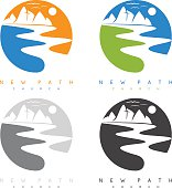 abstract mountains and river in new path church concept vector labels