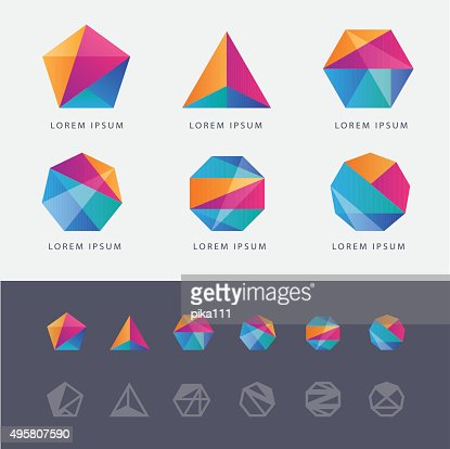 Polygone Géométrique Abstrait Multicolore En Forme De Logo De Marque