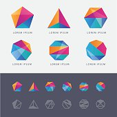 Abstract multicolored geometric polygon shape logo design marks