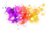 Music notes on colorful abstract watercolored background. eps10 - contains transparencies.