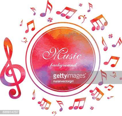 Fundo abstrato de música com textura de aguarela. Vector. : Arte vetorial
