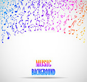 Vector illustration of Abstract musical background with notes