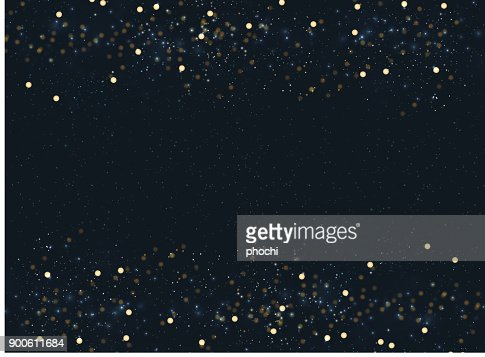 Abstract navy blue blurred background with bokeh and gold glitter header footers. Copy space. : Vector Art