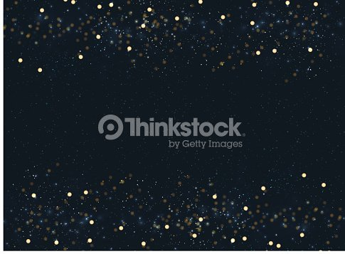 Abstract navy blue blurred background with bokeh and gold glitter header footers. Copy space. : stock vector