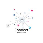 Abstract network connection. icon icon,