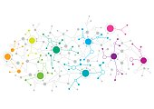 Abstract network design with colourful dots connecting to each other