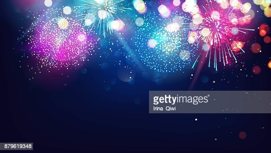 Abstract new year background with colorful fireworks and christmas lights. : stock vector
