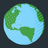 Abstract North and South America on globe for simple illustration of planet Earth
