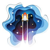 Abstract of paper spaceship launch to space, paper art concept and exploration idea, vector art and illustration.