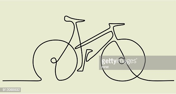 Abstract one line drawing with bike : stock vector
