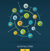 Abstract online shopping background. Digital connect system, integrated circles, flat icons, long shadows. Network interact interface concept. Ecommerce, market sales vector infographic illustration