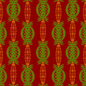 Abstract ornament of green and gold colors over a dark red color seamless pattern vector