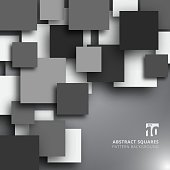 Abstract overlapping square black and white color background. Vector graphic illustration