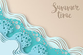 Abstract paper art sea or ocean water waves and beach. Summer background with seacoast. Paper sea waves with lines and bubbles. Paper cut style