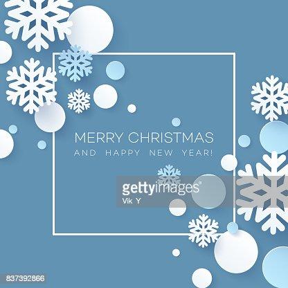 Papercraft abstracta fondo de Navidad de copos de nieve. Ilustración de vector : Arte vectorial