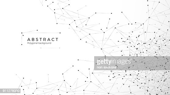 Abstract particle background. Mess network. Nodes connected in web. Futuristic plexus array big data. Atomic and molecular pattern. Vector illustration isolated on white background : stock vector