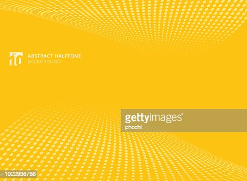 Abstract pattern dots yellow color halftone perspective background. : stock vector
