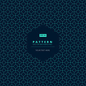abstract pattern square octagon and circle light blue on dark background with hexagon label copy space, vector illustration