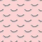 Abstract pattern with closed eyes on pink background. Cute eyelashes illustration. Fashion design for textile, wallpaper, fabric.