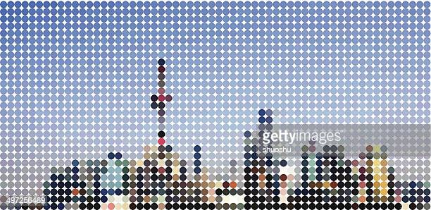 abstract polka dots Shanghai skyline pattern background