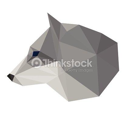 Abstrait Polygonal Triangle Geometrique Tete De Loup Isole Sur Fond