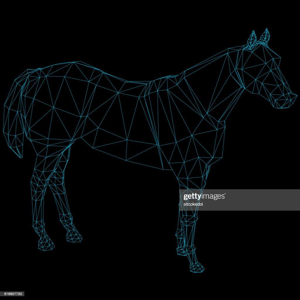 Abstract polygonal horse : Vector Art