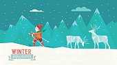 abstract polygonal illustration of skiing man  in winter holidays