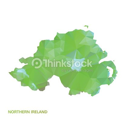 Abstract Polygonal Northern Ireland Map Poly Low Isolated
