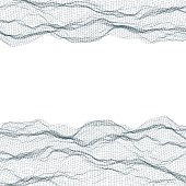 Abstract polygonal wave wireframe background. Vector illustration.