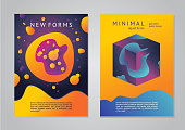 Abstract posters with 3d objects. Geometric elements with vibrant color. Trendy design.