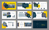 Abstract Presentation Templates, Infographic Black and Yellow elements Template design set for Brochures, flyer, leaflet, magazine, invitation card, annual report, Questions and Answers, social networ