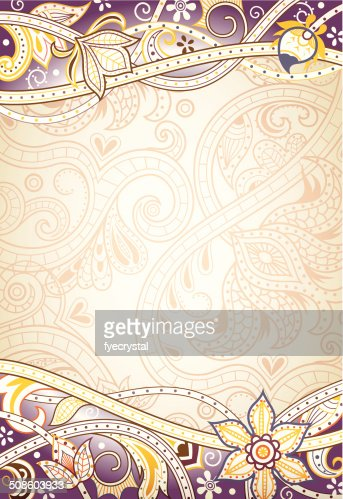 Abstract Purple Floral Frame : Vector Art