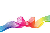 abstract rainbow ribbon , wavy background