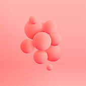 Abstract realistic 3d spheres structure pastel colored background. Vector illustration
