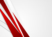 Abstract red and grey stripes corporate background. Bright minimal vector graphic design