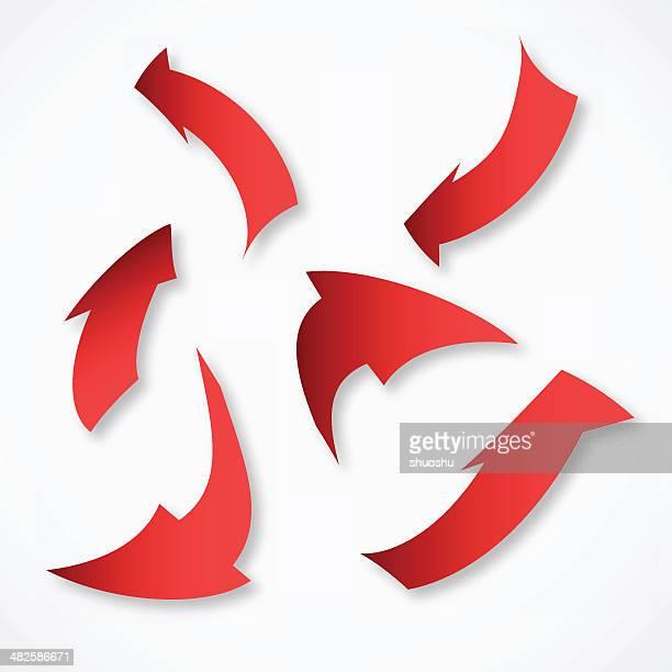 Abstracto rojo en forma de flecha