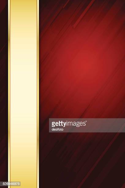 Abstract Red Background with Golden margin and diagonal lines
