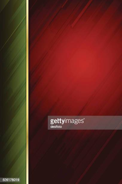 Abstract Red Background with Green margin and diagonal lines