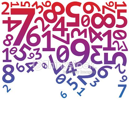 Abstract red, purple and blue random falling digits on white : stock vector
