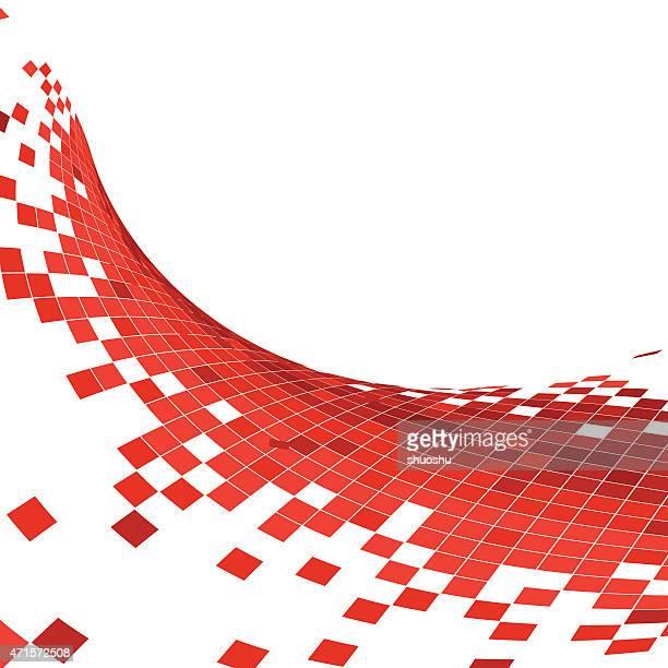 Abstrakt Rot winken Hintergrund-Technologie-Karomuster