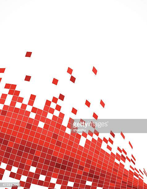 abstract red wave technology check pattern background