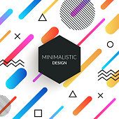 Vector abstract retro background with multicolored simple geometric shapes and copy space frame. Black triangles, circles, lines