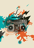 Abstract retro style poster design, with boombox, splashing and geometric shapes. Vector illustration.