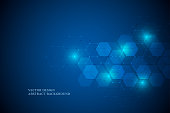 Abstract science and technology concept from hexagonal elements. Polygonal geometric design with hexagons pattern. Hi-tech digital background, vector illustration